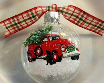 Vintage red truck ornament, christmas tree, ornament, black dog, carrying christmas tree, maine made