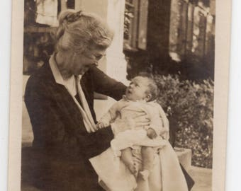 Vintage Photo Elderly Woman And Baby Antique Snapshot Edwardian Infant And Old Lady Photograph Family Picture