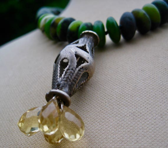 TAMANA  Afghani Green Amazonite Rondelles, Sterling Silver Vintage Filagree and Faceted Citrine Cluster Necklace