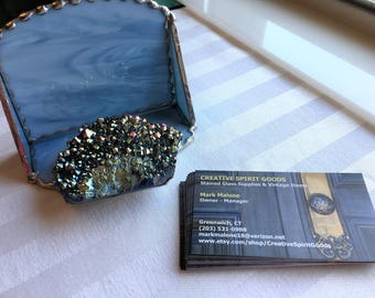 Stained Glass Business Card Holder|Office|Desk|Titanium Plated Quartz Crystal Cluster|Colonial Blue Glass|SilverTrim|Handcrafted|Made in USA