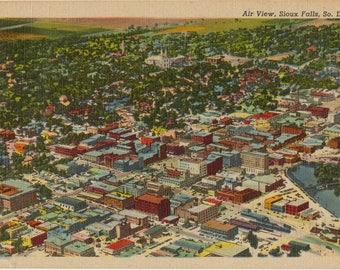 Linen Postcard, Sioux Falls, South Dakota, Aerial View