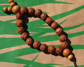 Fish mala with carved datewood beads  F031