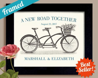 Unique Engagement Gift Custom Wedding Gift Framed Wedding Decor Gift for Couples Wedding Present Bicycle for Two Bridal Shower Bride Groom