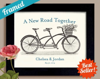 Wedding Gift Unique Engagement Personalized Gift Art Print for Couples Bicycle for Two Tandem Bicycle Wedding Keepsake Framed Art Print