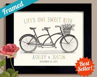 Personalized Gift for Wedding Couple One Sweet Ride Unique Engagement Gift Mr and Mrs First Anniversary Framed Bicycle for Two Decor