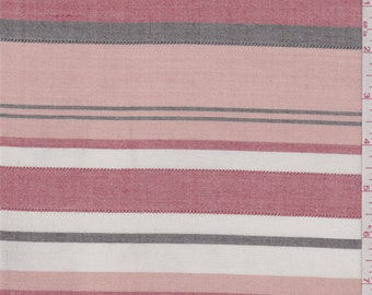 Peach/Red/Ivory Stripe Cotton Oxford Shirting, Fabric By The Yard