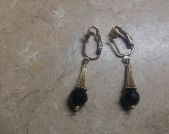 Vintage Sarah Coventry Gold Tone with Black Jems  Earrings