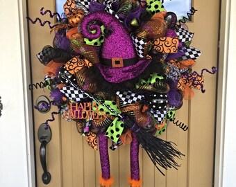 Halloween Witch Deco Mesh Wreath