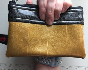 Zippered Pouch - Sparkle vinyl coin purse/change purse (Gold and black)