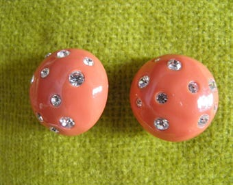 KJL, Signed Button Clip on Coral and Rhinestone Earrings