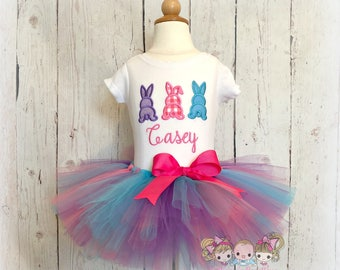 Easter bunnies outfit- Bunny tails tutu outfit- 1st Easter outfit- Easter bunny tutu outfit- 3 bunnies in a row- personalized Easter outfit