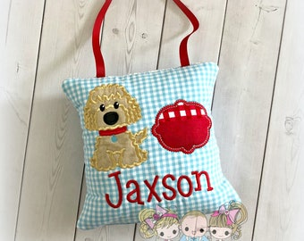 """Puppy tooth fairy pillow - personalized boys tooth fairy pillow- blue gingham tooth fairy pillow with dog- 8"""" tooth fairy pillow with ribbon"""