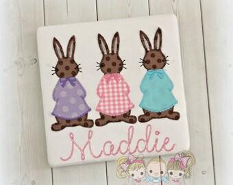 Easter bunnies embroidered shirt - 3 in a row bunnies shirt - girls Easter shirt - pink, purple, blue bunnies- vintage Easter bunnies shirt