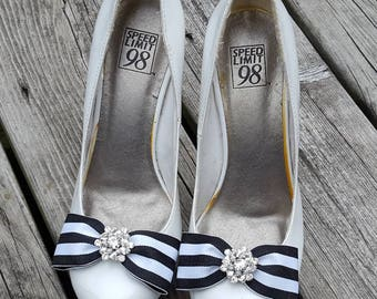 Black White Striped Nautical Shoe Clips,Rhinestone Bling, sailer, black shoe clips, fabric bow clips, striped blac white, black white stripe
