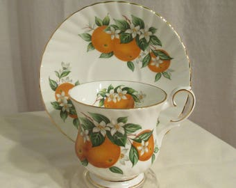 Flordia Oranges Tea Cup and Saucer