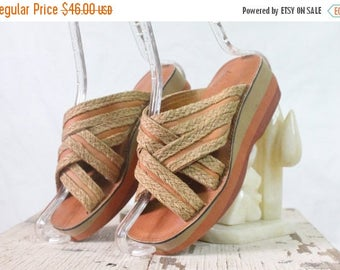 ON SALE Vintage 70's Layered Foam Wedge Sandals