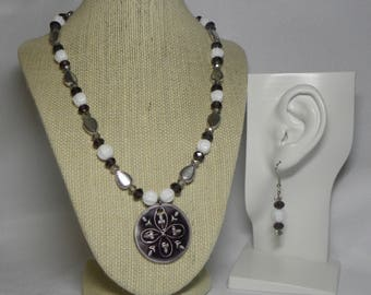 Necklace and Earrings: Purple Pendant Necklace