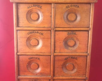 Antique Spice Cabinet Hanging Pine Wall 8 Drawer cabinet spices vintage primitive folk art country rustic farmhouse kitchen baking seasoning
