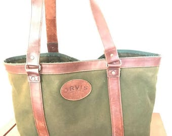 15%OFF VACATION SALE Vintage Genuine Orvis Sporting Traditions Dark Green Canvas and Brown Leather Trim Travel Bag Tote Shoulder Bag