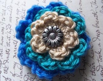 Crochet Flower Brooch. Handmade Brooch. Blue Flower Brooch.