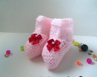 Handmade Baby Booties. Soft Pink Baby Booties.