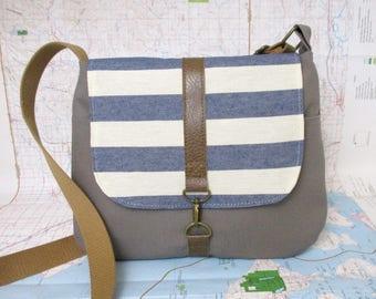 Nantucket-Crossbody purse - Messenger bag - Vegan purse - Travel bag - Shoulder bag - Stripes - Blue- Taupe- Medium - Preppy - Ready to ship