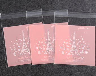 Eiffel Tower Small Plastic Bag Food packaging bags  resealable bag (100) Party Snack Cookie Bag