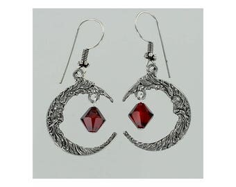 CRESCENT MOON Earrings - Pewter and Red Swarovski Crystal Dangles