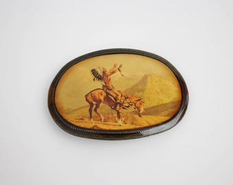 Vintage Enameled Brass Native American Indian Belt Buckle - Chief Joseph of the Nez Perces - Indian Chief on Horseback