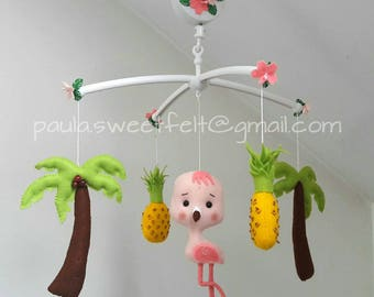 Ready to go / Tropical Baby Flamingo crib mobile / palm tree / pineapple / nursery decor/ hanging mobile /  Wild animals /