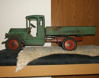 "Large Antique Toy Dump Trump, Steel, 1930's, SturdiToyConstructionCo., 27"" Long, Childs Antique Toy, Collectible Toy Truck, Lots Of Patina"