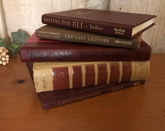 Vintage and new book bundle, maroon and beige book set, book collection, wedding decor