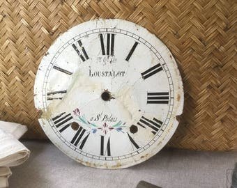 """French vintage Clock face, white and black enamel on metal, 19th clock dial for shabby chic Deco, Loft and Atelier """"LOUSTALOT à St PALAIS"""""""
