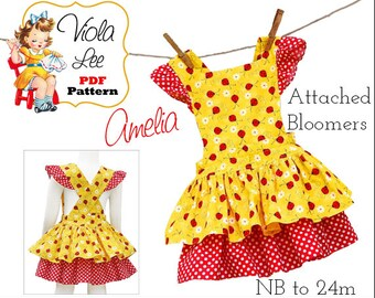 Girl's Dresses, Baby Romper Pattern, Infant Sewing Pattern, Dress Tutorial, Baby Sewing Patterns. pdf Sewing Pattern. Baby Dress. Amelia