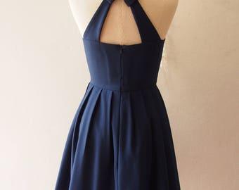 SALE USD20 - Size S - Navy Party Dress Backless Dress Navy Prom Dress Bridesmaid Dress Vintage Style La La Land Dress Sundress