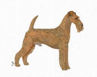 Irish Terrier handmade original cut paper collage dog art