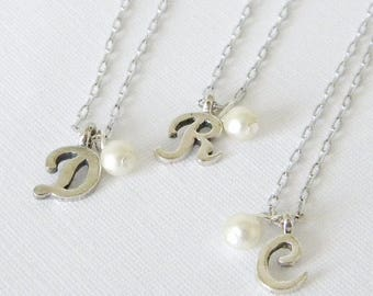 Initial Pearl Silver Necklace