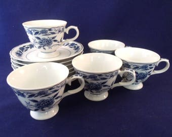 Blue Chatham By Symco, 5 Footed Cups, 7 Saucers