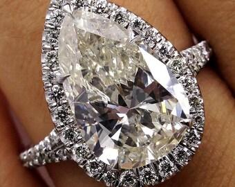 Estate Vintage 4.25ct PEAR Shaped Diamond Engagement Wedding Pave Halo Platinum Ring