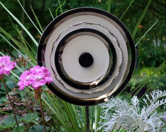 CLEARANCE 25%  Glass Garden Flowers, Yard Sun Catcher, Garden Yard Art and outdoor Garden sun catcher with recycled glass