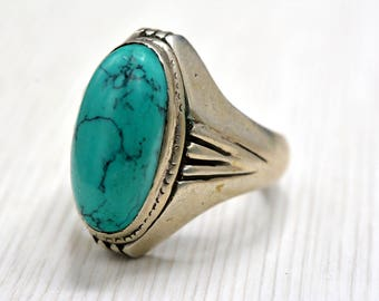 Sterling Silver ring , Vinatge Ring  , Green stone, size11 , men ring,  turquoise Gemstone , Ethnic Ring ,  Gift
