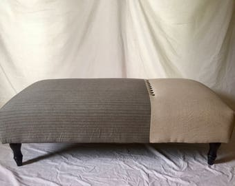 1920's inspired one of a kind upholstered ottoman