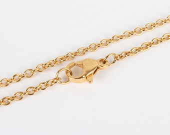 "Gold 304 Stainless Steel Cable Chain Necklace with Lobster Claw Clasp - 17.7""(45cm) long"