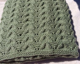 Hand Knit Blanket - Frosty Green