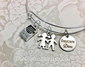 DD, Daycare Owner Bangle, Daycare Staff Gift, Daycare Teacher Jewelry, Daycare Diva Charm, Kids Charm, Daycare Gifts, Daycare Teacher Charm