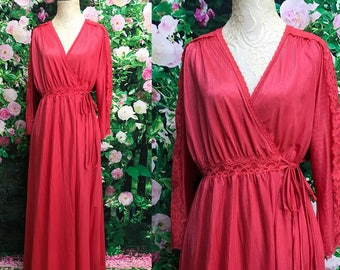 70s Dusty Rose Miss Elaine Robe Dressing Gown Large