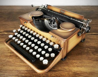 Vintage 1930s Royal Portable Model P Typewriter, Mocha Brown Paint, Serviced, Fully Working