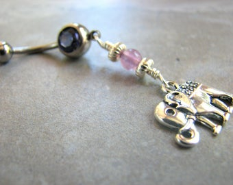 Dangle Belly Button Ring Long Silver Elephant and Amethyst Belly Bar, Purple Gemstone Elephant Navel Piercing, Elephant Belly Ring