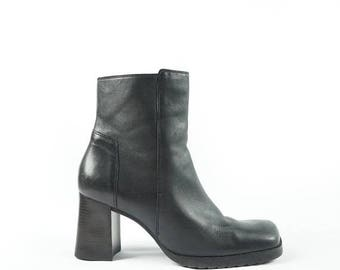 ON SALE Mid 90s X-File Boot, Low Tread Platform Ankle Boots, Black Leather Boots By Unisa, Women's Size Us 6.5