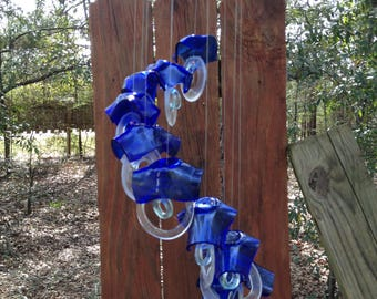 blue, clear, sea foam, GLASS WINDCHIMES- RECYCLED bottles,  garden decor, wind chimes, mobiles, windchimes, soothing music